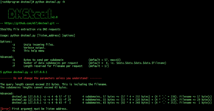 DNSteal : DNS Exfiltration Tool For Stealthily Sending Files Over DNS Requests