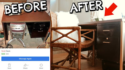 diy desk, metal desk, tanker desk, wicker chair, mid century, rustic furniture, scandinavian desk, facebook marketplace