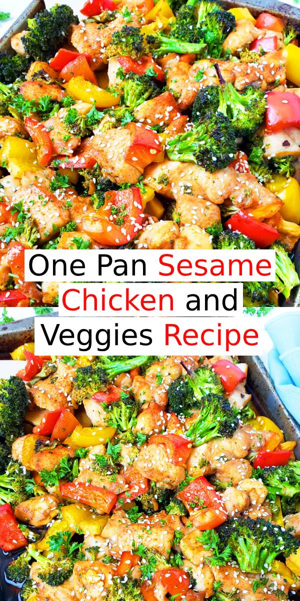 This One Pan Sesame Chicken and Veggies makes the perfect weeknight dinner that's healthy, delicious and easily made all on one pan in under 30 minutes! Perfect recipe for your Sunday meal prep too! #onepan #chicken #whole30 #dinner #dinnerrecipe #meal