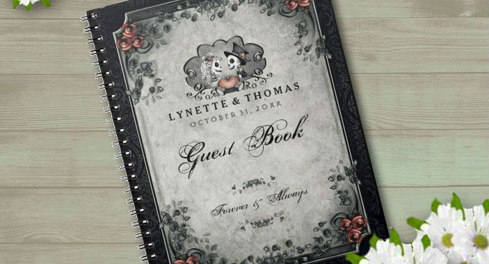 Halloween Love Gray & Black Custom Wedding Guest Book