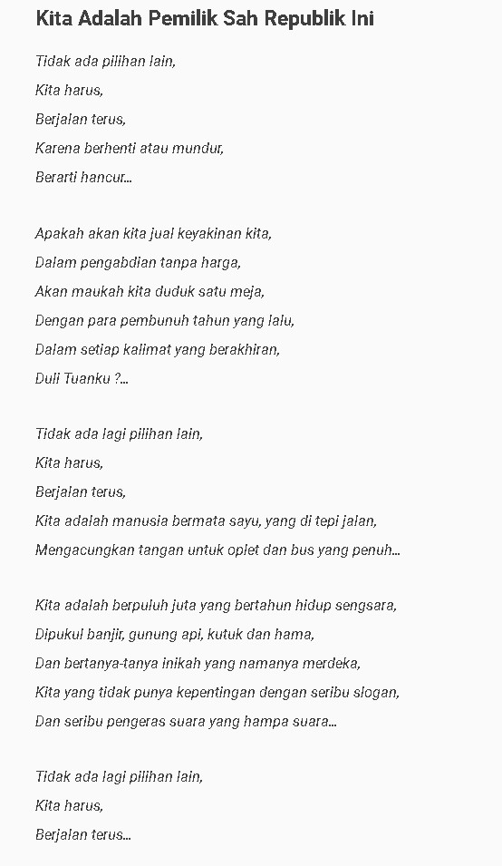contoh puisi parafrase