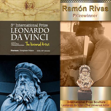 Carteles del 3º Premio Internacional Leonardo da Vinci. Escultura y el artista Ramón Rivas
