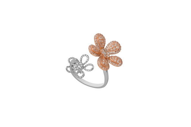 Entice_ Five petal flower top open ring in white and rose gold combination