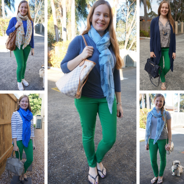 5 ways to wear green and blue together with bright skinny jeans awayfromblue
