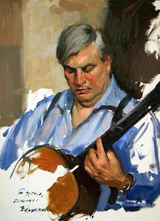 Man playing guitar, Self Portrait, Bill Angresano, International Art Gallery, Self Portrait, Art Gallery, Portraits of Painters, Fine arts, Self-Portraits, Painter Bill Angresano