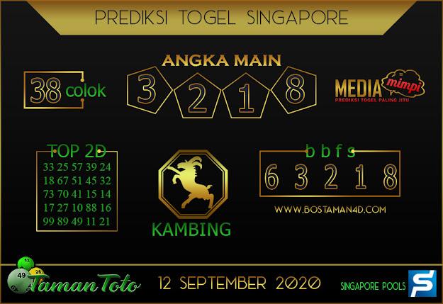 Prediksi Togel SINGAPORE TAMAN TOTO 12 SEPTEMBER 2020