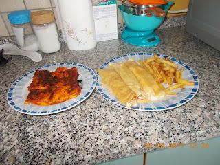 per un pranzo veloce : crepes salate con prosciutto cotto e fontina - polenta al forno