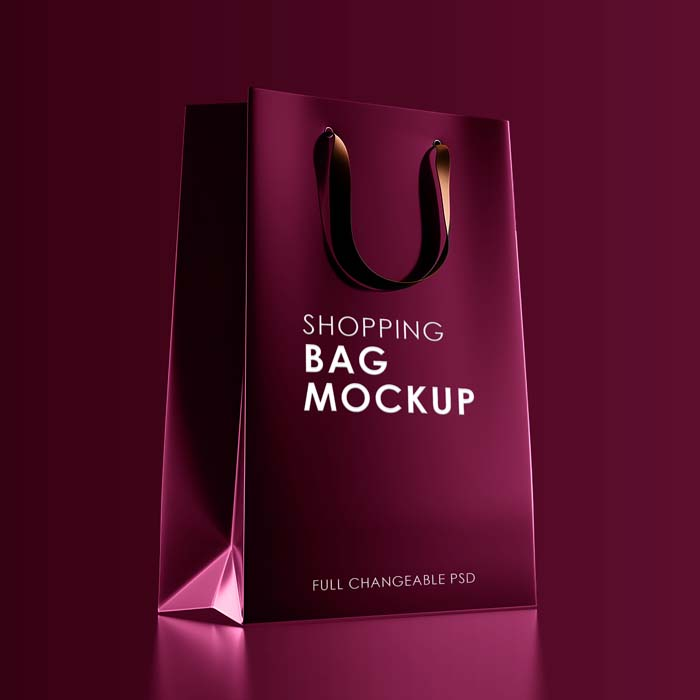 Red Shopping Bag PSD Mockup