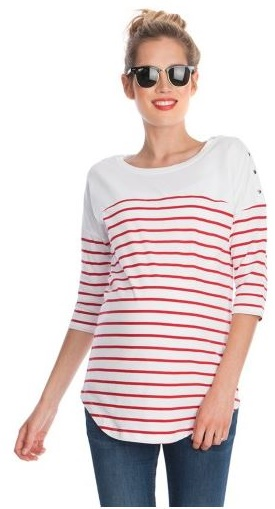 Red and White Striped Cotton Maternity Top