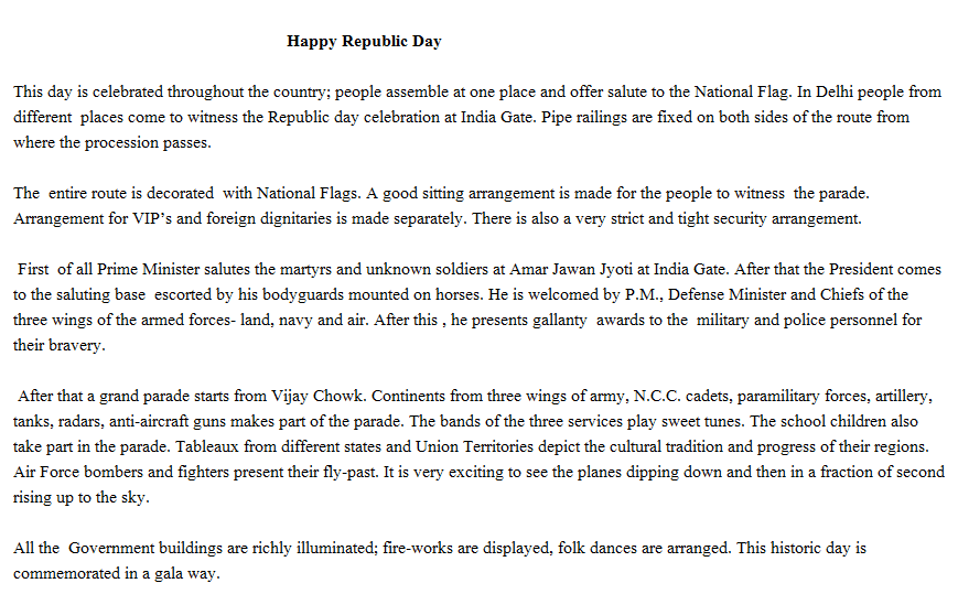 Republic day india hindi essay