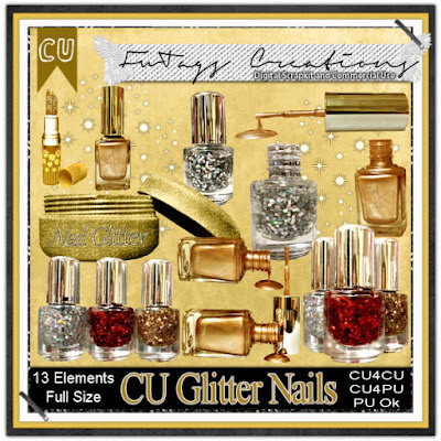 CU Glitter Nails, Commercial Use Scrap kit by Claire Slack aka FwTags