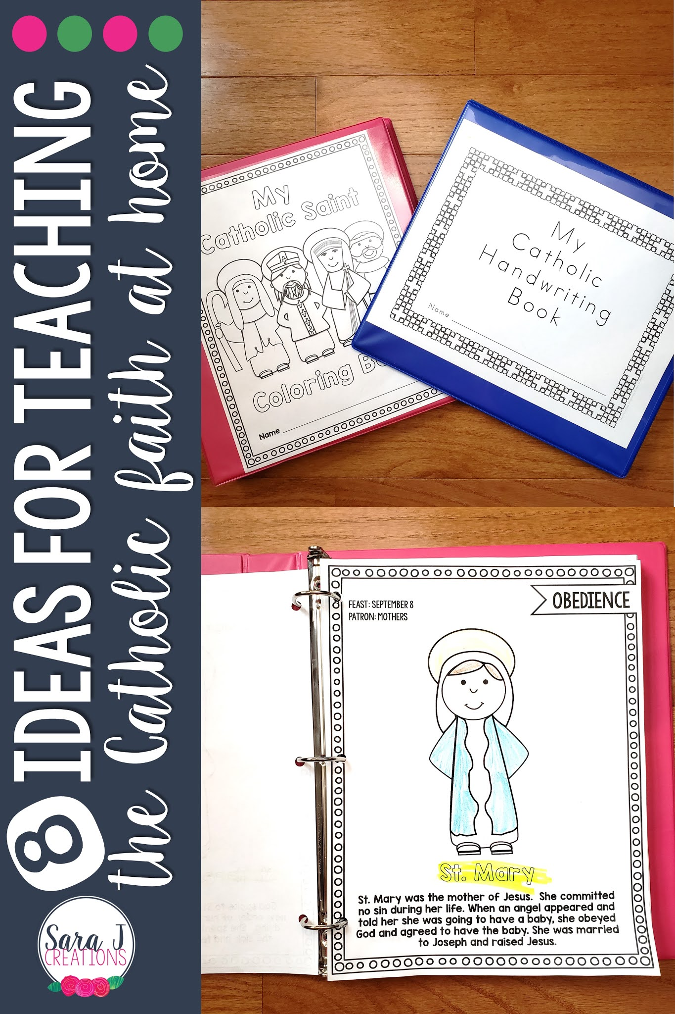 Simple ideas for incorporating the Catholic faith into your home. Perfect for homeschoolers and non homeschoolers alike.