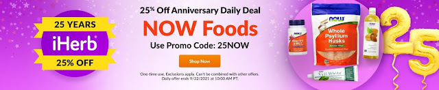 iHerb is celebrating their 25th birthday with coupons every day in the month of September!