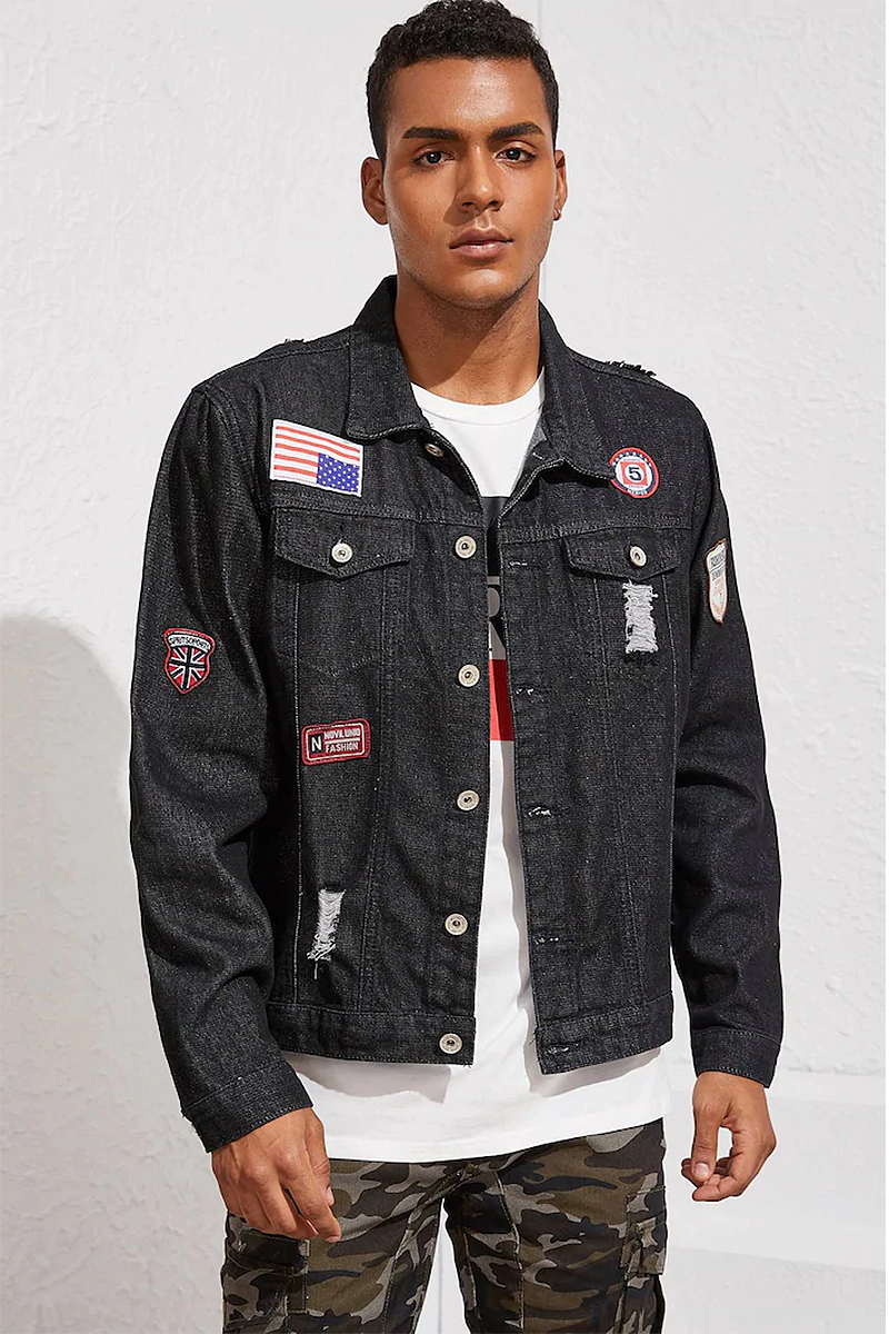 Guys Black Wash Ripped Patched Denim Jacket