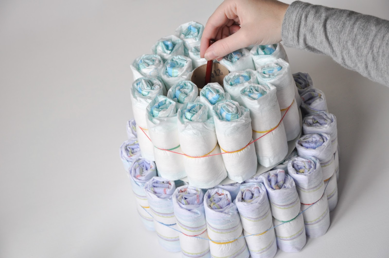 pippas long stockings Make your own nappy cake tutorial