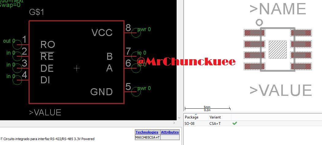 Librerías para Eagle: MAX3485 - Circuito integrado para interfaz RS-485