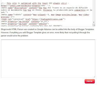 Parse código HTML, CSS, PHP y más ejemplo
