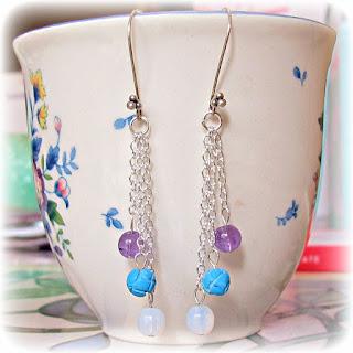 gemstone earrings two cheeky monkeys jewellery silver amethyst turquoise moonstone
