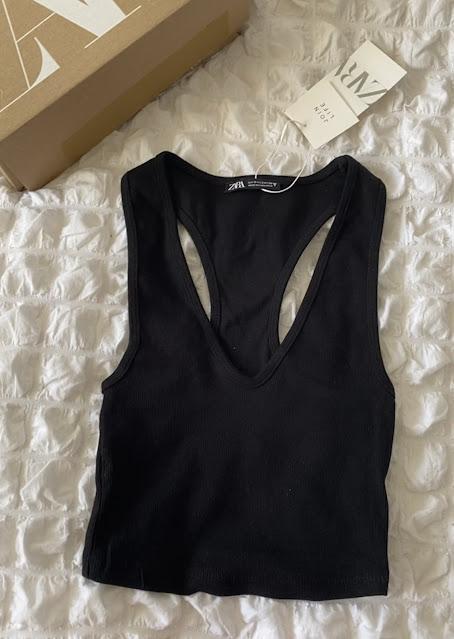 Zara Ribbed V Neck Crop Top In Black Size S