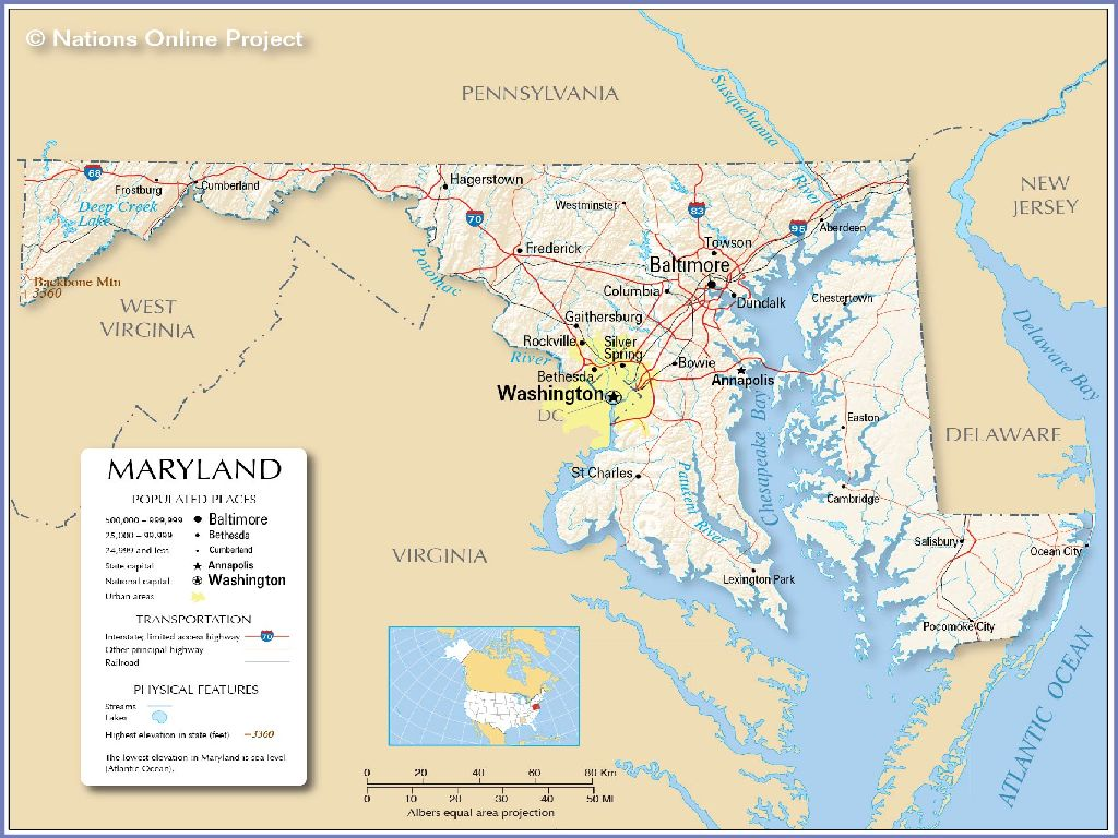 maryland united states map
