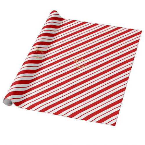 One Line Candy Cane Red Stripes Custom Gold Text Christmas Wrapping Paper
