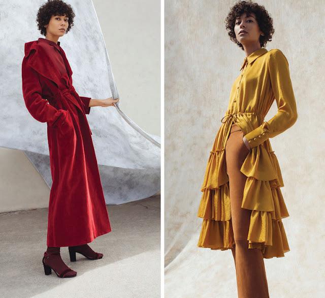 Монохромные сочетания в одежде красного и желтого