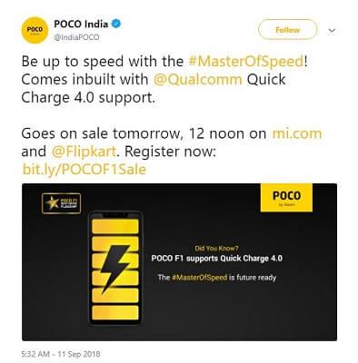 POCO F1 يدعم تقنية الشحن السريع 4.0
