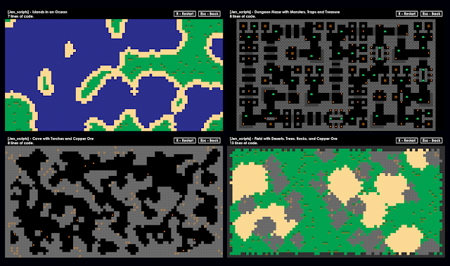 Four screenshots of procedurally generated terrain, including islands, dungeon maze, cave, and a field with boulders.