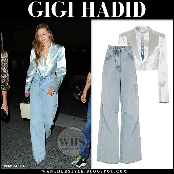 65d6cfd101f Gigi Hadid in silver satin cropped jacket and high rise baggy jeans from  Off-White