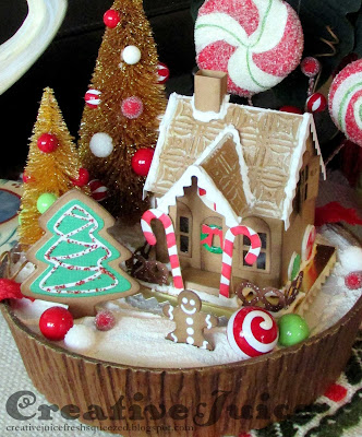 Lisa Hoel – gingerbread house Christmas decor scene #creativejuicefreshsqueezed #tim_holtz #sizzix #mymakingstory
