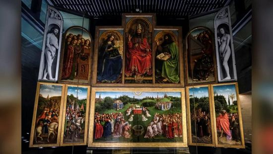 """Il dipinto della """"Pala di Gand"""" del XV secolo mostra Eva (a destra) con un cedro."""