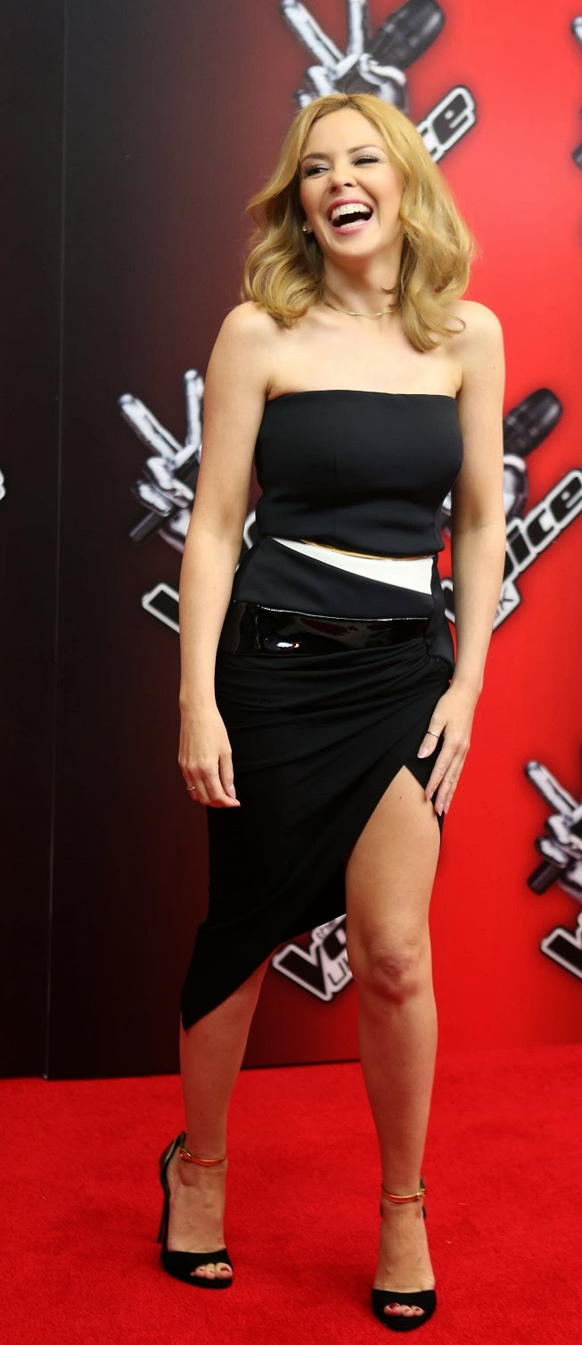 Kylie Minogue in a strapless dress at The Voice UK launch in London
