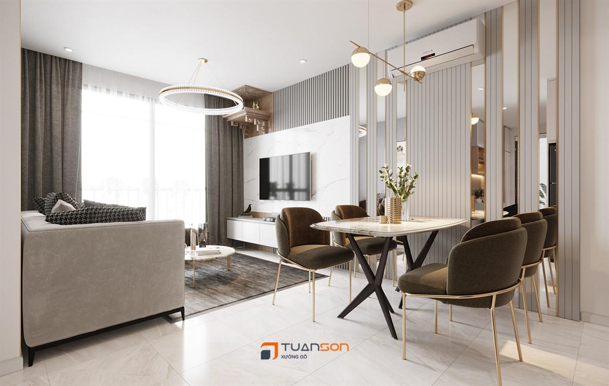 Thiết kế nội thất căn hộ 2PN+1 (55m2) Tòa S3.02 Vinhomes Smart City Tây Mỗ
