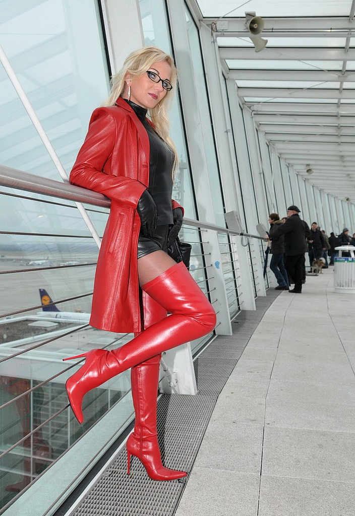 Sexy eliza smoking wearing leather dress and high heels 8
