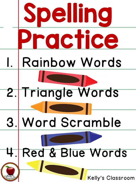 Change up your spelling homework routine with these creative alternatives: rainbow words, pyramid words, red and blue words, and word scramble.