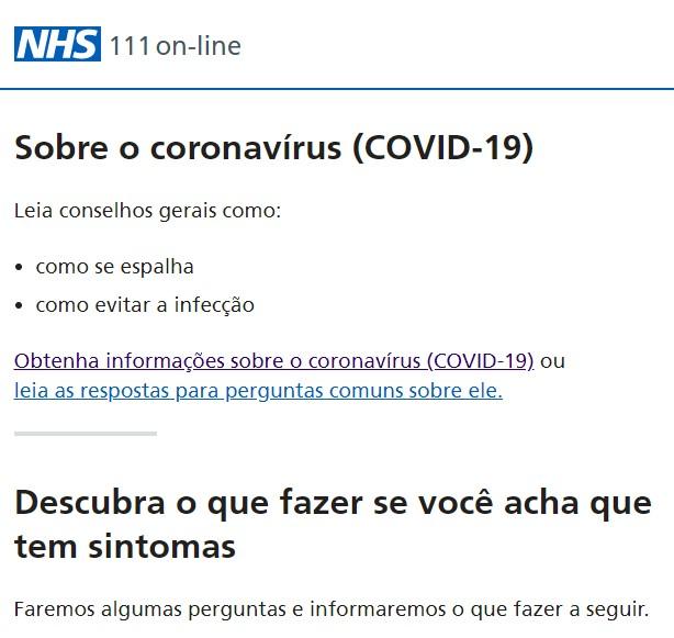 O serviço on-line de coronavírus do Reino Unido