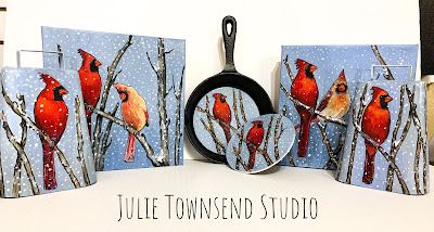 Farmhouse Art, Farm Art, Julie Townsend Studio, Cardinals, Cowbells