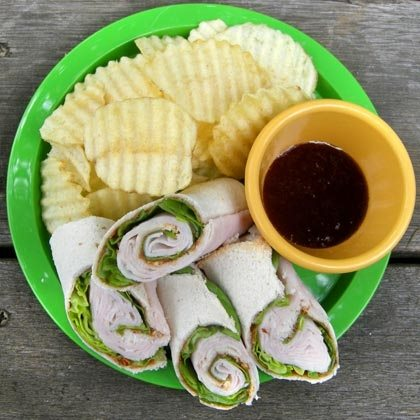 Pinwheel Chicken Sandwich with Plum Dipping Sauce