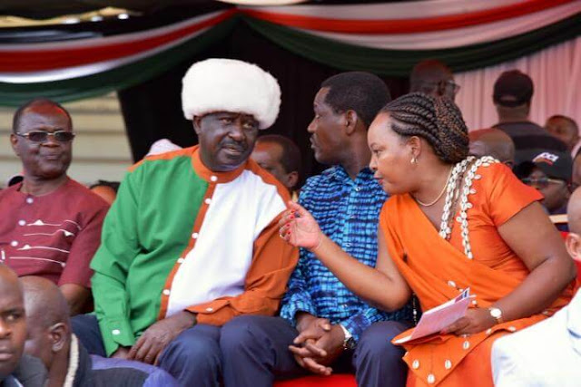 ODM leader Raila Odinga with Kirinyaga governor Ann Waiguru. PHOTO | KENYANS