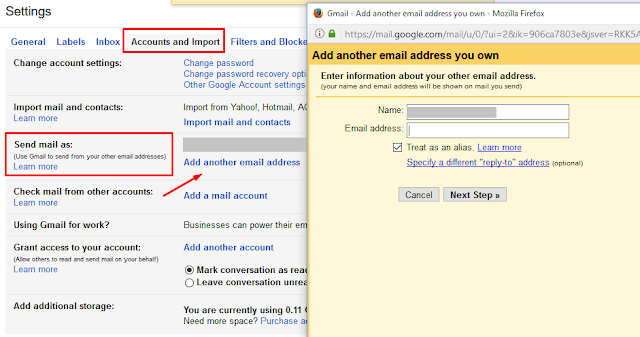 gmail send email as another email 1