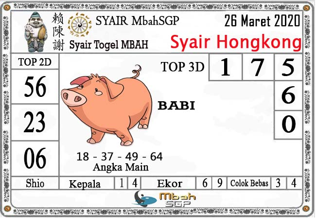 Prediksi Togel Hongkong Kamis 26 Maret 2020 - Syair Mbah HK