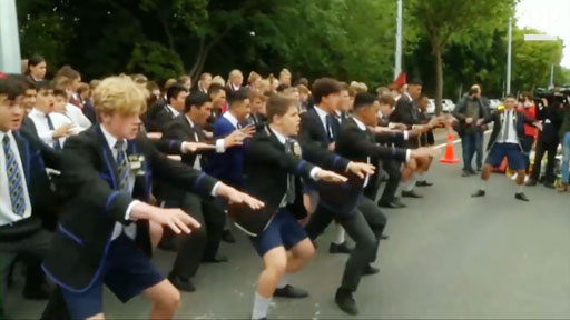 As New Zealand continues mourning the deaths of 50 people gunned down by a white nationalist terrorist, dozens of boys from Christchurch Boys' High performed a ceremonial haka dance to show support and unity with the Muslim community.