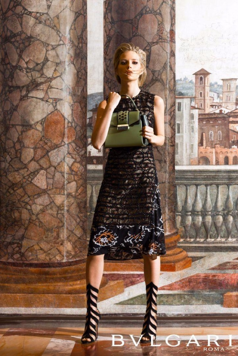 Lottie Moss models Bulgari's Serpenti handbag line
