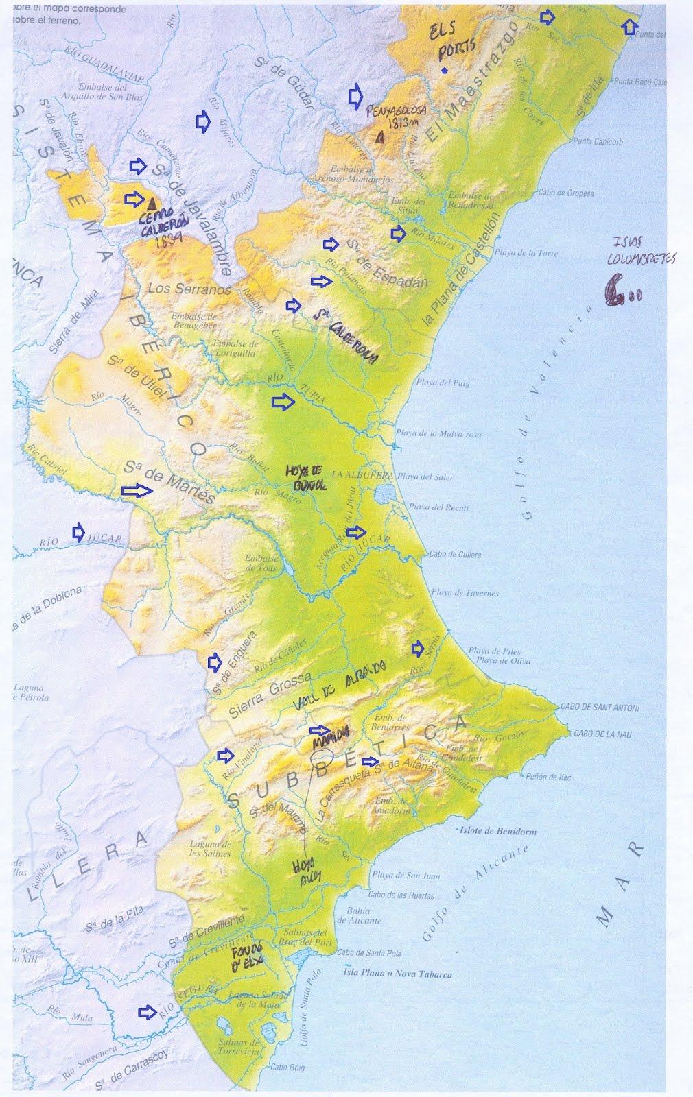 Mapa Fisico Comunitat Valenciana.La Clase De Vicente Mapa Fisico Comunidad Valenciana