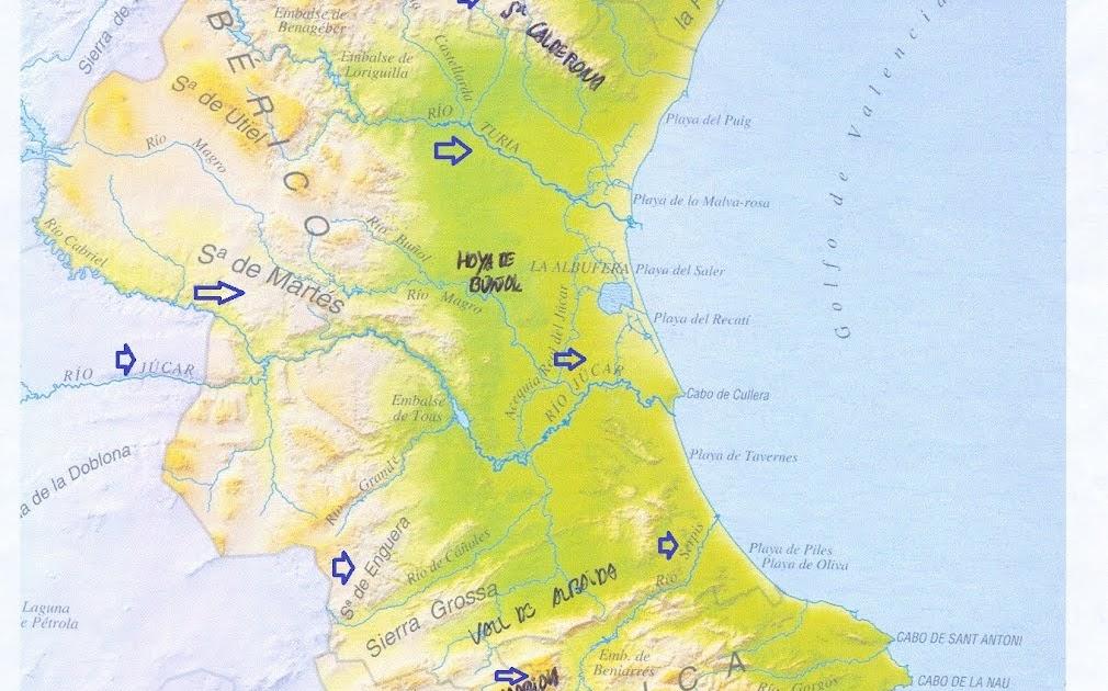 Mapa Rios Comunidad Valenciana.La Clase De Vicente Mapa Fisico Comunidad Valenciana