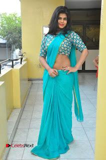 Telugu Actress Alekhya Stills in Green Saree at Swachh Hyderabad Cricket Press Meet  0091.JPG