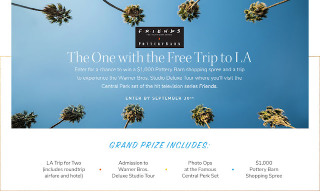 Pottery Barn is giving away a tremendous FREE trip to Los Angeles, California, along with a $1000 Pottery Barn Gift Card!