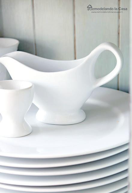 white dishes on kitchen island