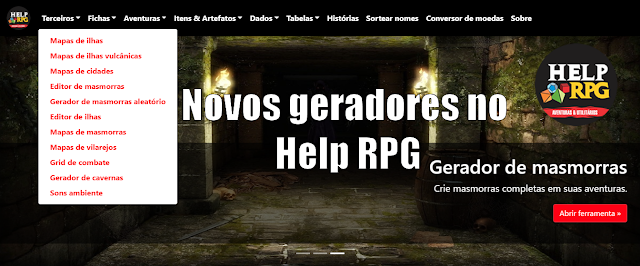 Novos geradores no site do Help RPG