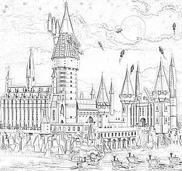 Coloring Pages: Lego Harry Potter Hogwarts Great Hall
